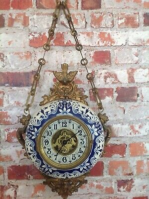 ANTIQUE FRENCH CARTEL WALL SKELETON CLOCK LARGE AND UNUSUAL PORCELAIN & ORMOLU