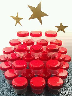 30 Plastic Jars with RED Lids Tops Craft Container 3803 DecoJars Made in USA New