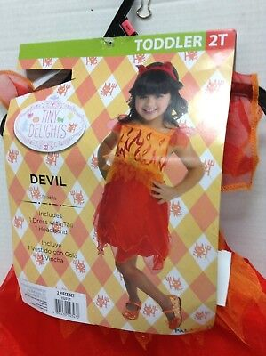Tiny Delights Childrens Red Orange Fire Devil Halloween Costume 2T Dress Up