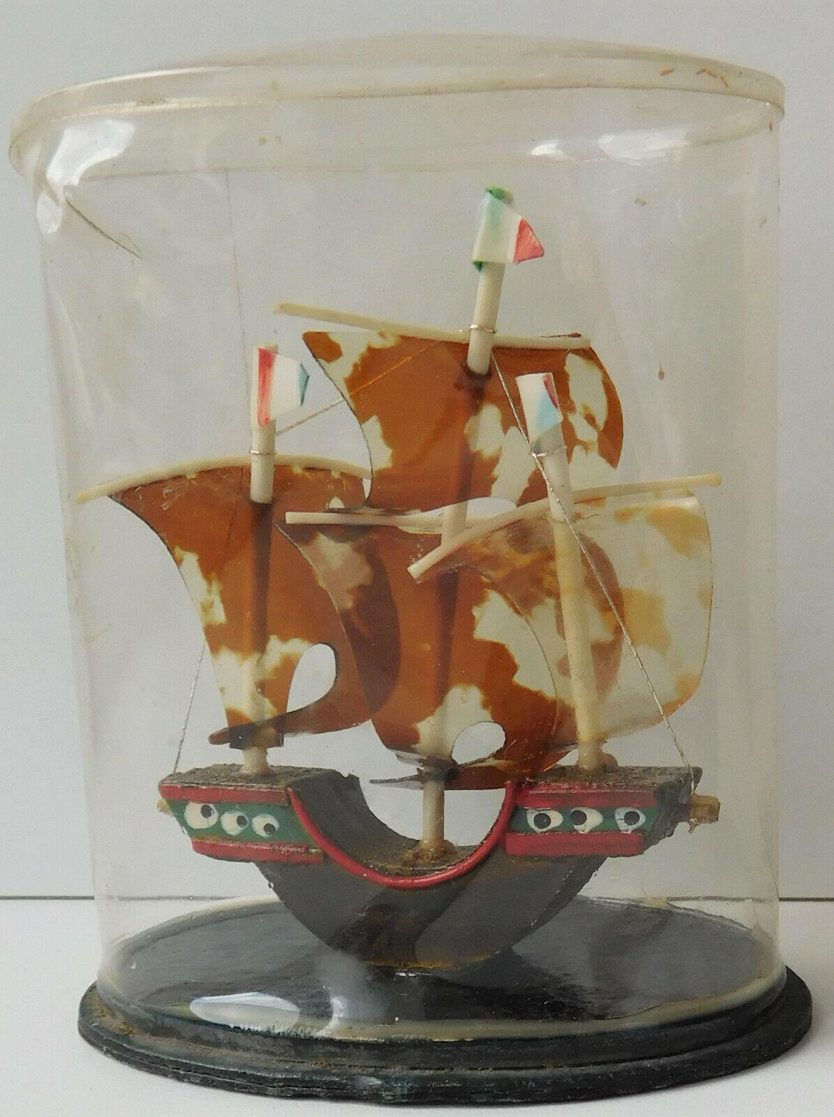 "Vintage model sailing ship galleon ornament Daysun giftware Japanese 4"" 1950s"