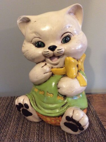 Vintage ceramic piggy bank kitty cat (RE:IS-253)