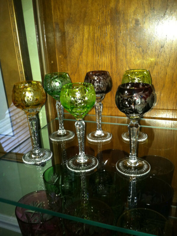 """6 NACHTMANN TRAUBE 4 1/2"""" CORDIALS MULTIPLE COLORS CUT TO CLEAR LEAD CRYSTAL"""