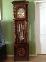 Tempus Fugit Grandfather Clock Asian Wood Carving Dragon Pagoda German /Asian