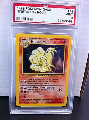 PSA 9 MINT Shadowless NINETALES Unlimited Base Set Holo 12/102 Pokemon Graded