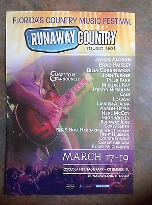 BRAD PAISLEY Jason Aldean Promo Card Runaway Country Music Fest 2017