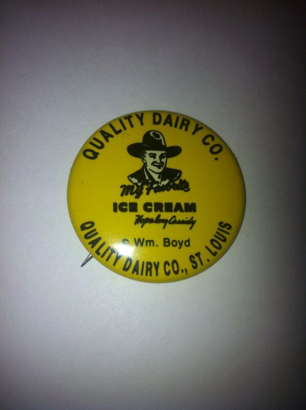 """NM 1950 Hopalong Cassidy: Quality Dairy Co. Yellow/Black 1.5"""" Cello. Button"""