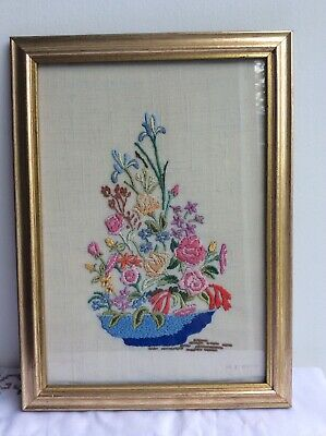 Pretty Vintage Embroidered Picture ' Bowl Of Flowers ' Framed