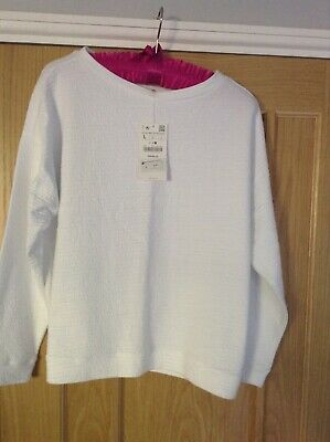 Zara White Sweatshirt Brand New Size Large