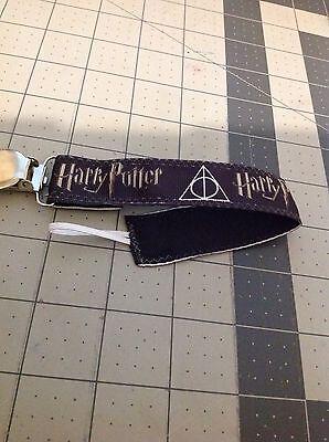 Baby Boy Girl Pacifier Clip Leash Holder Harry Potter Symbol Black Ribbon
