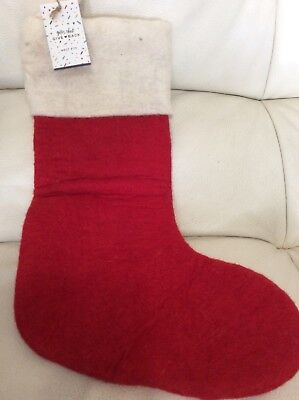 West Elm 100% Wool Handcrafted Felted Christmas Stocking Red & White No Mono NWT ()