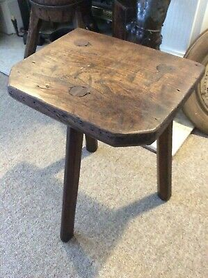 ANTIQUE SHEFFIELD ELM/ASH CUTLERS STOOL CIRCA MID 1800's...
