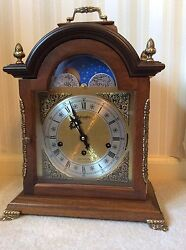 Hamilton 3 Chime Moon Phase 8 Day Mantle Clock - Excellent working condition