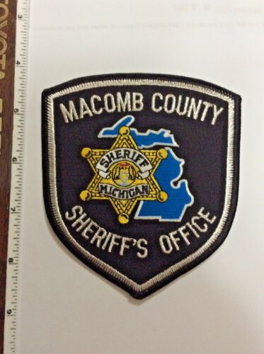 Macomb County Michigan Sheriff Police Silver Mylar Shoulder Patch New