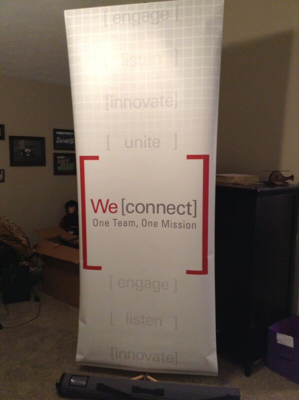 Duo Display Sprint Telescoping Banner Sign Display Stand W/ Graphic & Case