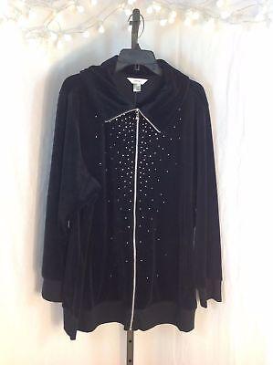 Black Velour Pant & Sweater Outfit SET Slacks Plus Size 3X CJ Banks