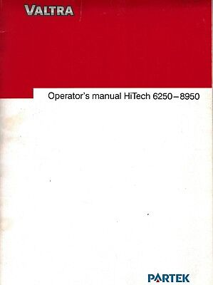 Valtra Hi-tech 6850 8950 Tractors Operators Manual 2001