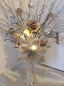 Artificial Silk Flower Arrangement Silver Brown In Glitter Vase Lights Up