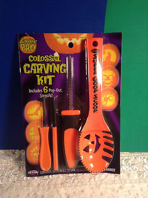 Colossal Carving Kit 6 Pop Out Stencils & Tools Halloween Carving Kit New (Halloween Carving Stencils)