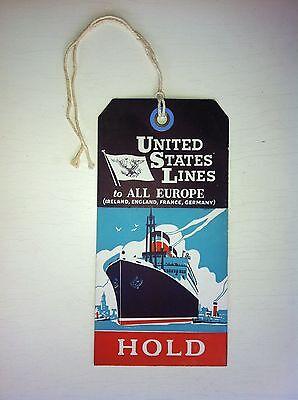j/ Koffer Anhänger Schiff baggage label Ship United States LINES Orig. von 1930