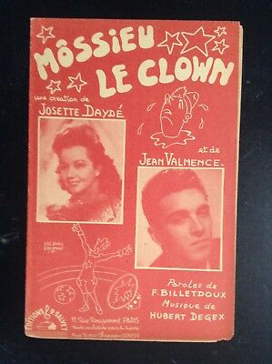 Ancienne partition Illustrée Jacques Faizant Daydé Valmence Cirque Clown TBE