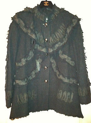 CHANEL 09P LESAGE TWEED Black Fringed Ribbon Jacket Coat FR44 CC buttons $7K