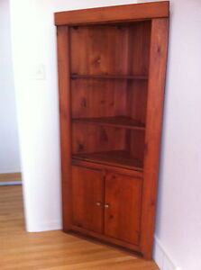 Pine Corner Cabinet with Shelves