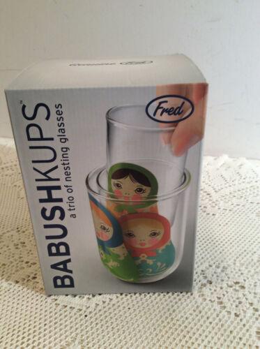 Babushkups Nesting Glasses Folkloric Doll Glasses Set Of Three NIB