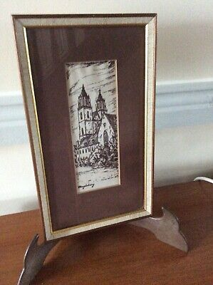 ☘️VINTAGE  EMBROIDERY PICTURE  MAGHABERRY CHURCH NORTHERN IRELAND   ☘️