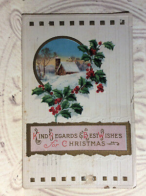 Kind Regards Best Wishes for Christmas Holly Berries House Antique Postcard (Best Regards Kind Regards)