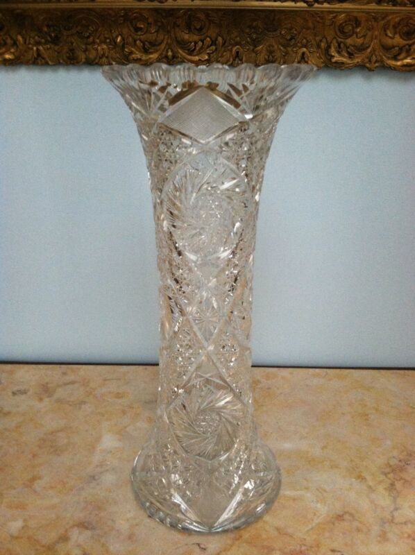 Beautiful Victorian Hand Cut Crystal American Brilliant Tall Rose/Sunflower Vase