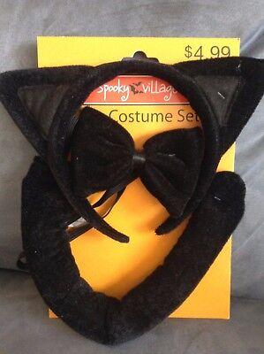 CVS SPOOKY VILLAGE 3 PIECE RED BLACK CAT COSTUME SET - BRAND NEW ](Make Black Cat Halloween Costume)