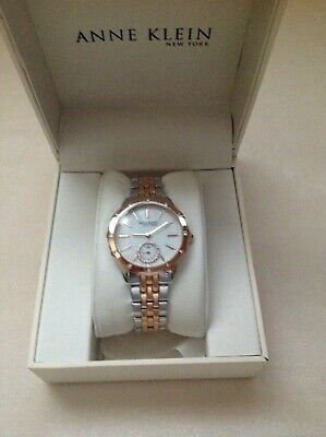 Anne Klein  12/2305MPRT Crystal Accented Two Tone Woman's Watch  (W106)