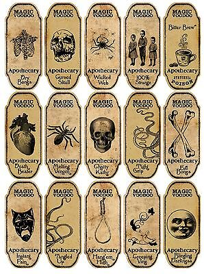 Voodoo Decorations Halloween (Halloween 15 magic voodoo apothecary bottle labels stickers scrapbooking)