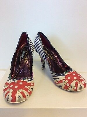 (NEW EX DISPLAY IRREGULAR CHOICE RED,WHITE & BLUE STRIPE & SPOT HEELS SIZE 6/39)