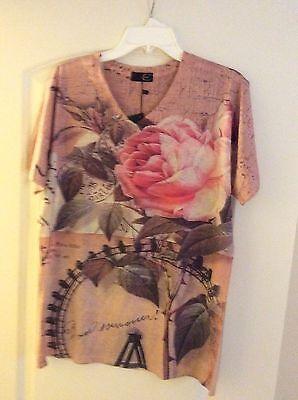 Men's Short Sleeve Rose V-Neck Cotton T-Shirt Size Large