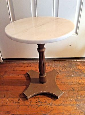 Italian Style vintage Pedestal  Marble wood base side end Table Plantstand stand