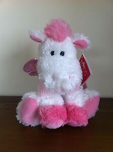 RUSS-Berrie-Pink-White-Pegasus-Soft-Plush-Toy-Medium-Called-Opal-Sitting