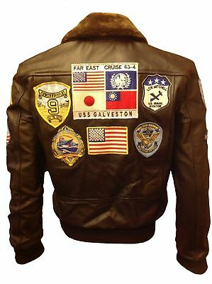 TOP GUN BROWN MEN'S A-2 JET FIGHTER BOMBER NAVY AIR FORCE PILOT LEATHER JACKET (Top Gun Bomber Jacket)