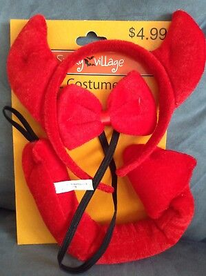 Cvs Halloween Costumes (CVS SPOOKY VILLAGE 3 PIECE RED DEVIL COSTUME SET - BRAND NEW)
