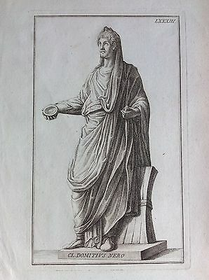 CLASS DOMITIUS BLACK tav. LXXXIII etching 1704 Domenico of Rossi Raccolta Statue