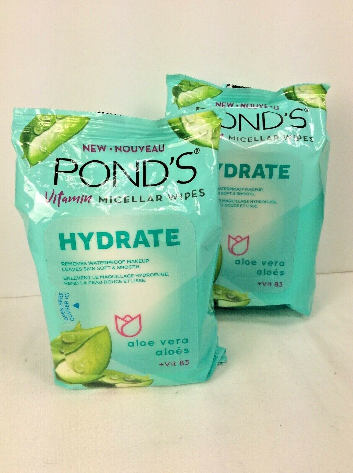 2 Packs Pond's Vitamin Micellar Wipes Hydrate Removes Waterp