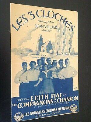 Ancienne partition Musicale Les 3 cloches Piaf compagnons de la chanson