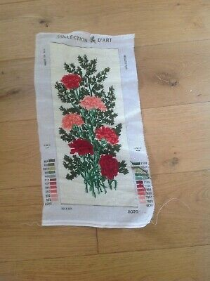 Vintage * Collection D'Art * Floral Bouquet Tapestry Embroidery Needlepoint VGC