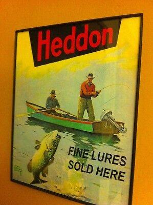 Heddon Men Fishing Lures Bait Shop Store Man Cave Advertising Framed Print Sign