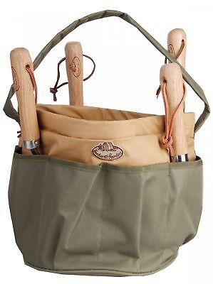 Esschert Design Gartengerätetasche Werkzeugtasche rund 28 x 28 x 26 cm Kanevas