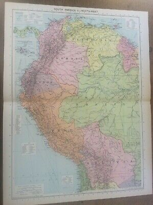 "Vintage Antique 1939 Philips Map 20x15"" South America North West Brazil Peru"