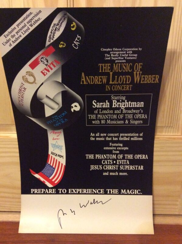 SIGNED MUSIC OF ANDREW LLOYD WEBBER IN CONCERT SIGNED THEATER POSTER