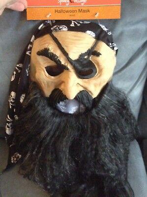 CVS SPOOKY VILLAGE ADULT PLASTIC CREEPY PIRATE HALLOWEEN MASK - BRAND NEW (Halloween Masks Cvs)