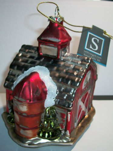 Large Red Barn & Silo Blown Glass FARM CHRISTMAS TREE ORNAMENT Hand Painted NWT