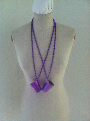 New 2 Purple Beaded Necklace Shot Glass Portable Shot Glasses Necklace Bar - Shot Glass Beads